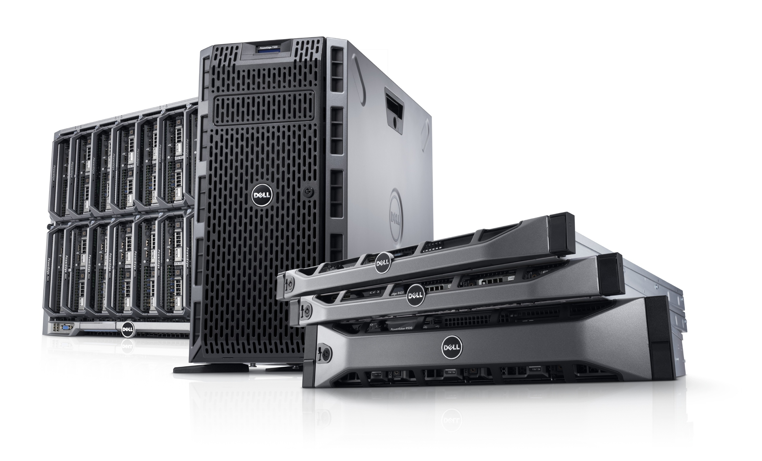 Dell PowerEdge 12G family image, featuring PowerEdge M520 blade servers in a PowerEdge M1000e modular blade enclosure, a PowerEdge T320 tower server, and PowerEdge R320, R420, and R520 rack servers.